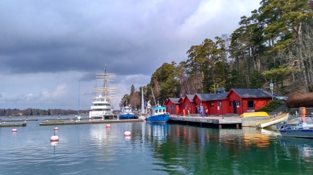 The port in Mariehamn with museum boat in the back.